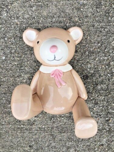Vintage Teddy Bear NURSERY WALL DECOR COAT HOOK OCI Omnibus Tan/White/Pink ❤️j8