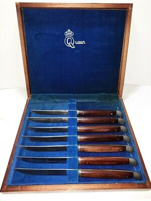 Vintage Queen Steel Steak Knife Cutlery Set Made in USA with Display Box USED