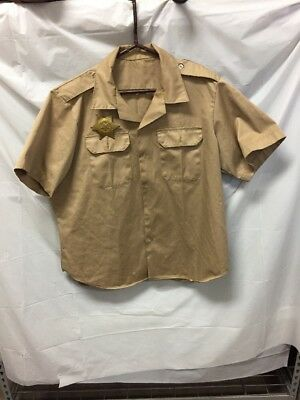 Mens Halloween Costume Texas Rangers Police Button Down & Badge Sz L