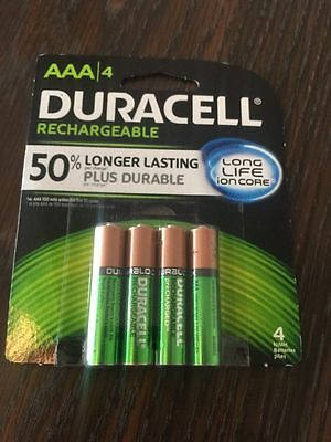 NEW 4/pack Duracell AAA Rechargeable Batteries, AAA4 1.2V NiMH DX2400 850 mAh