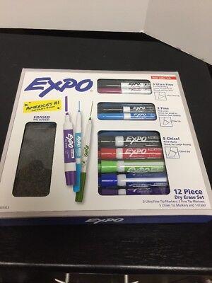 Expo 12 Piece Dry Erase Variety Set -11 Markers 1 Eraser-nib