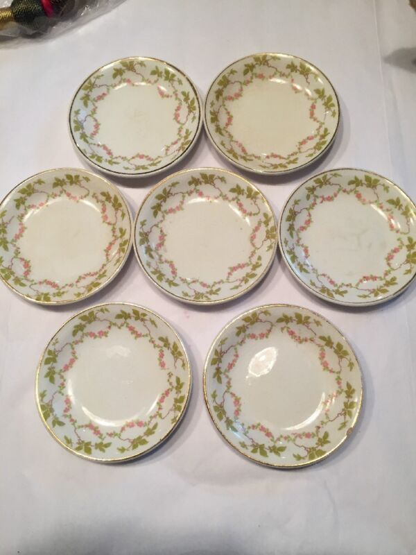 Antqiue Butter Pat Pats 7 Pink Rose Swag Detail Havalnd China