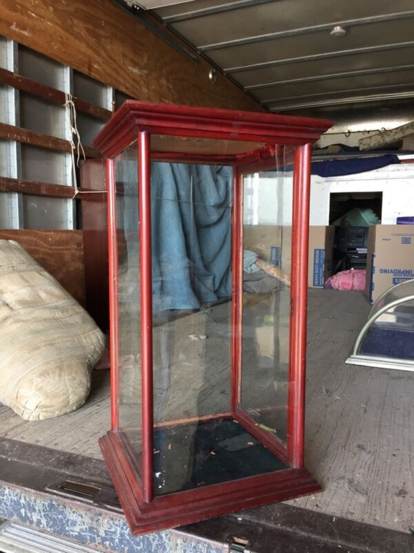 Sc1 Antique Wood And Glass Showcase Display Case