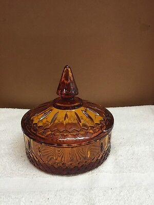 Vintage Fancy Cut Design Amber Glass Candy Dish