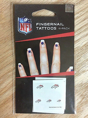 NFL Denver Broncos Fingernail Tattoos Decals 4-pack - 20 Tattoos - Made in USA