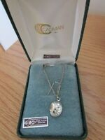 rhodium plated sterling locket and chain