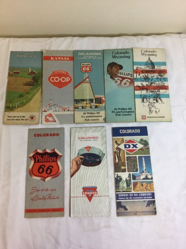 LOT Of 8 Vintage Road Maps Phillips 66 Conoco DX Texaco
