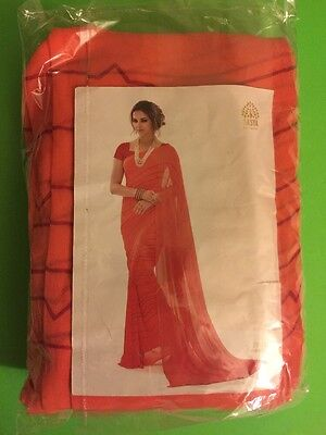 Fancy Printed Party Wear Orange Color Saree BRAND NEW + FREE SHIPPING FROM USA