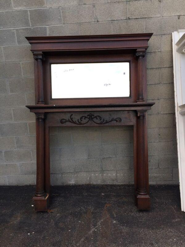 Fp Cm 16 Antique Oak Full Fireplace Mantel Beveled Mirror