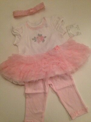 Little Me Baby Girl Tutu Dress Leggings Outfit Set Size 6 9 12 Months Pink Fancy
