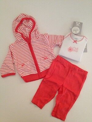 Carters Baby Girl Hooded Jacket Bodysuit Pants Outfit Size NEWBORN Coral Peach