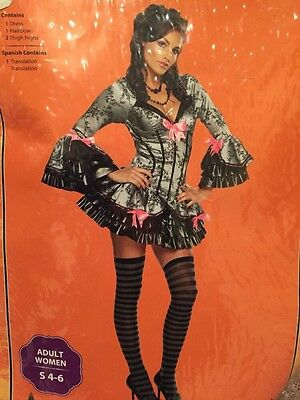 Ladies French Kiss Costume Halloween Small Adult NWT Gray Black Pink Hair Bow - French Kiss Costume Halloween