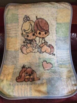 PRECIOUS MOMENTS Plush Luxury Fleece Boy Girl Puppy Dog Heart BABY BLANKET THROW