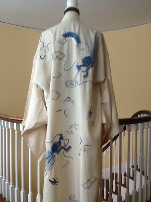 Vintage Antique Heavy Silk 1920's Large Kimono Robe with Blue Embroidered Dragon