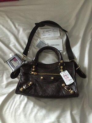 New Balenciaga Brown Shoulder City Mini Bag Purse