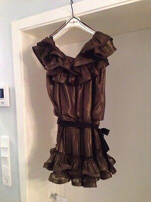 Lanvin for H&M festliches Kleid  GOLD/BRONZE Rüschen ruffle NEU Cocktail  Party