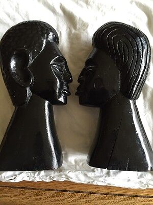 Pair 2 Man + Woman Vintage African Ebony Wood Hand Carved Sculpture Tribal Heads