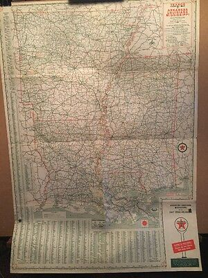 VTG 1950's Texaco Oil Co. Touring Map Arkansas Louisiana Mississippi w/ TX & OK