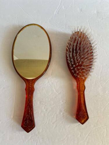 Vintage Avon Brown Cameo Brush and Mirror
