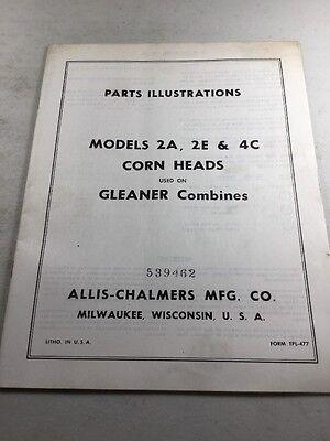 Original Allis Chalmersgleaner 2a 2e 4c Corn Heads Parts Illustrations Manual