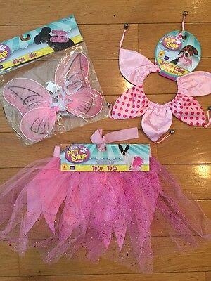 NWT Rubies Pet Shop Pink Glitter Tutu Halloween Costume Wings Jester Collar Set