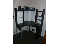 ikea corner desk, black and white. With matching drawers.