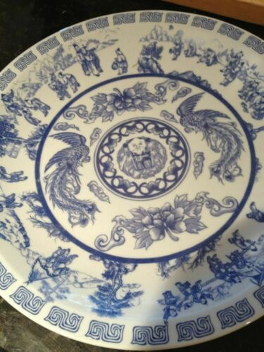 "vintage large Asian serving plate blue and white approximately 14.5"" across"