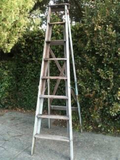 Vintage Timber A-Frame Ladder 8ft / Distressed Light Grey