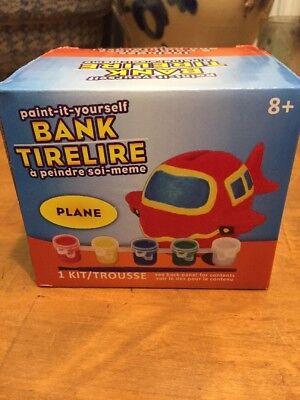 NEW Small Paint It Yourself Airplane Plane Paint Kit Piggy Bank Pilot Aviator
