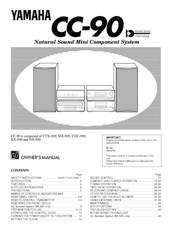 Yamaha CC-90 Component System Owners Manual