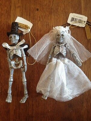 Katherine's Collection Halloween Bride & Groom Skeleton Ornaments