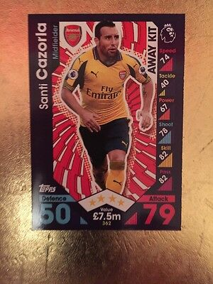 Match Attax Season 16/17 Arsenal Away Kit #362 Santi Cazorla