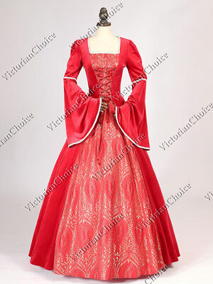 Medieval Renaissance Queen Christmas Red Velvet Dress Theatrical Clothing N 129 - Renaissance Medieval Clothing