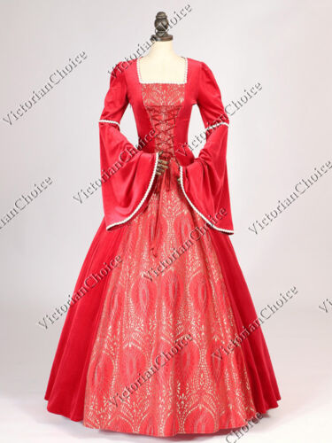 Medieval Renaissance Royal Queen Red Velvet Dress Theatrical Ball Gown 129