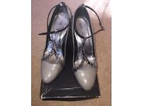 Reiss Grey Patent Leather Wedges Shoes Size 40 7