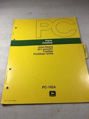 John Deere 451 651 Toolbar Fertilizer Units Parts Catalog Manual
