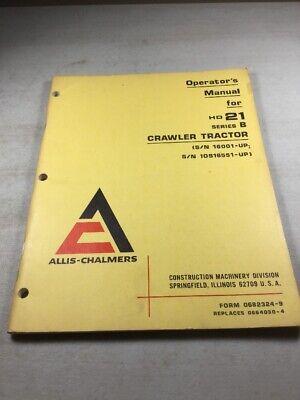 Allis Chalmers Hd21b Dozer Operators Manual