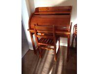 Children's roll top desk & chair - antique pine colour
