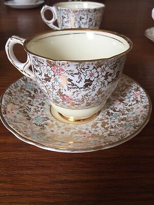 Vintage Royal Stafford China 6 Tea Cup & Saucer Gilded  Chintz 8201 Yellow.