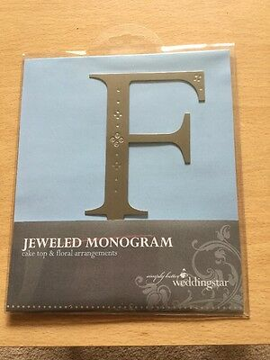 Weddingstar Jewelled Monogram Cake Topper Letter F Brushed Silver Metal Brushed Monogram Wedding Cake Letter