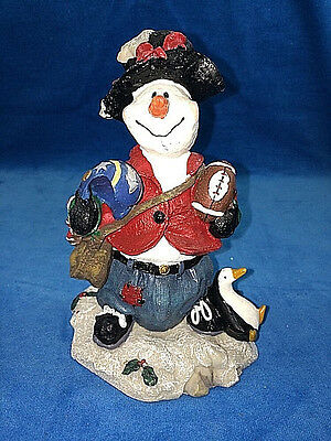 1999 Collectible Star Snowman Football Player Resin Statue Figurine Mint In Box