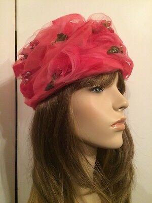 Amazing! Vintage 40's Hot Pink Silk Organza  and Flowers Ladies Turban Hat Sz 22