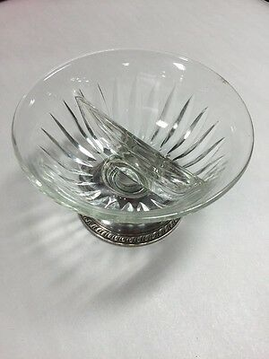 Vintage Sterling by Laben Sterling Silver Base Divided Glass Bowl