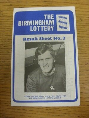 15 10 1973 Birmingham City  The Birmingham Lottery   Result Sheet No 3  Four Pag
