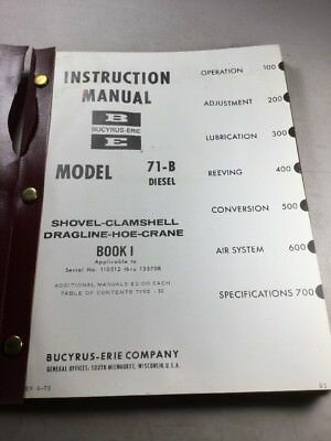 Bucyrus Erie 71-b Shovel Clamshell Dragline Hoe Crane Instruction Manual