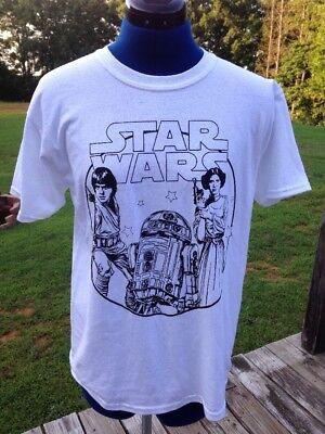 Star Wars Color Yourself T Shirt Large R2D2 Luke Skywalker Princes Leia for sale  Walnut Cove