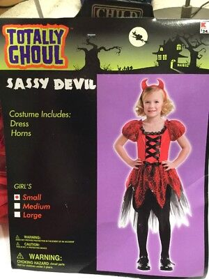 Totally Ghoul girls SMALL Red Sassy DEVIL Halloween costume w/ horns NWT](Devil Costume Girl)
