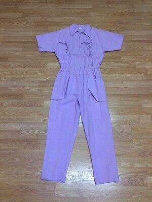 VTG 80's Purple Lavender Jumpsuit Cute Pockets Zipper Front Size16 Cotton E452