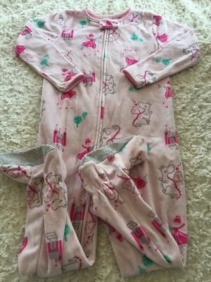 Just One You Girls Pink Princess Dragon Castle Fleece Long Sleeve Pajamas 4T