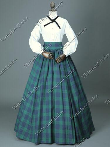 Victorian Dickens Faire Little Women Tartan Dress Maid Pioneer Theater Gown 314